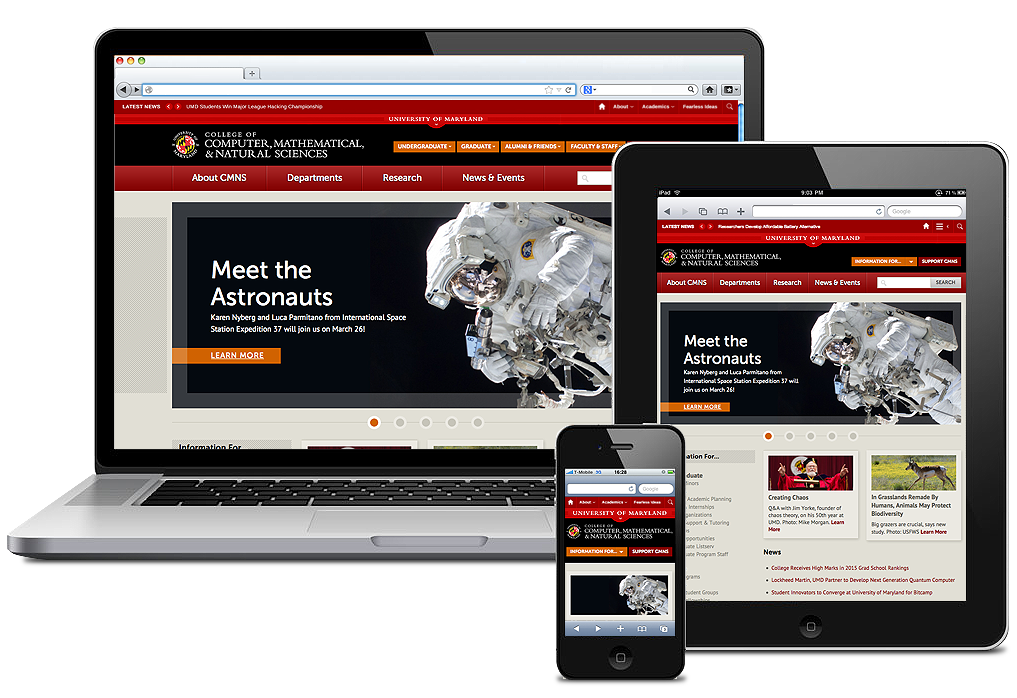 Multiple devices showing the UMD home page.